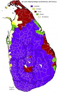 Répartition géographique des principales religions au Sri Lanka